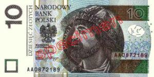 Billet 10 Zloty Pologne PLN Type II recto