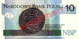 Billet 10 Zloty Pologne PLN Type II verso