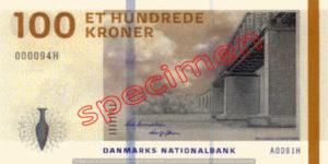 Billet 100 Couronnes Danemark DKK recto