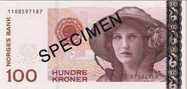 Billet 100 Couronnes Norvège NOK Serie VII recto