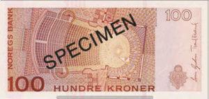 Billet 100 Couronnes Norvège NOK Serie VII verso