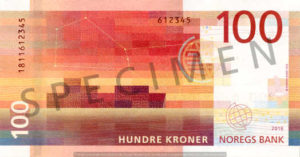 Billet 100 Couronne Norvégienne NOK Serie VIII verso