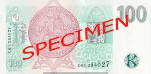 Billet 100 Couronnes Rep Tcheque CZK verso