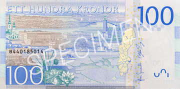Billet 100 Couronnes Suede SEK verso
