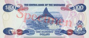 Billet 100 Dollar Bahamas BSD 1996 verso