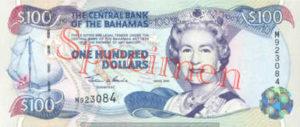 Billet 100 Dollar Bahamas BSD 2000 recto