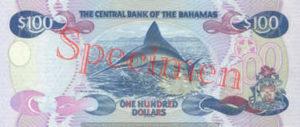 Billet 100 Dollar Bahamas BSD 2000 verso