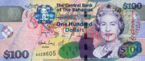 Billet 100 Dollar Bahamas BSD 2009 recto