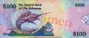 Billet 100 Dollar Bahamas BSD 2009 verso
