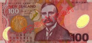 Billet 100 Dollar Nouvelle Zelande NZD Serie 6 recto