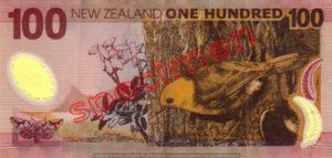 Billet 100 Dollar Nouvelle Zelande NZD Serie 6 verso