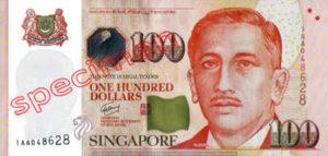 Billet 100 Dollar Singapour SGD 4ème Série IV recto