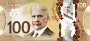 Billet 100 Dollars Canada CAD recto