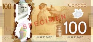 Billet 100 Dollars Canada CAD verso