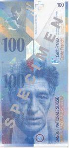 Billet 100 Francs CHF Suisse