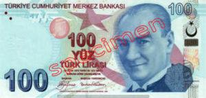 Billet 100 Livre Turquie TRY recto