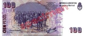 Billet 100 Pesos Argentine ARS Type I verso