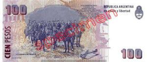 Billet 100 Pesos Argentine ARS Type II verso
