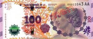 Billet 100 Pesos Argentine ARS Type III recto
