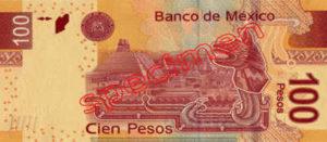 Billet 100 Pesos Mexique MXN Type I verso