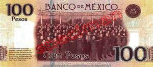 Billet 100 Pesos Mexique MXN Type III verso