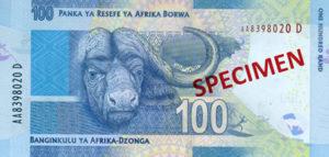 Billet 100 Rand Sud-Afrique ZAR verso