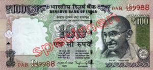 Billet 100 Roupie Inde INR