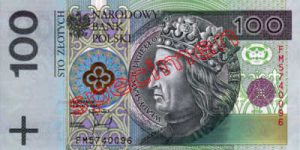 Billet 100 Zloty Pologne PLN Type I recto