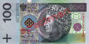 Billet 100 Zloty Pologne PLN Type I recto