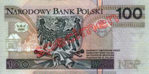 Billet 100 Zloty Pologne PLN Type I verso