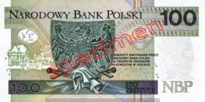 Billet 100 Zloty Pologne PLN Type II verso