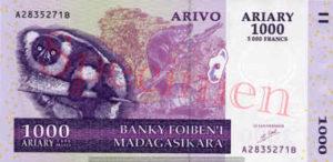 Billet 1000 Ariary Madagascar MGA 2004 recto