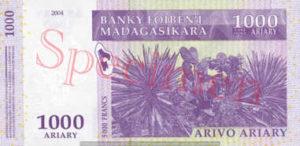 Billet 1000 Ariary Madagascar MGA 2004 verso