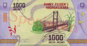 Billet 1000 Ariary Madagascar MGA 2017 verso