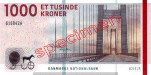 Billet 1000 Couronnes Danemark DKK recto