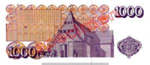 Billet 1000 Couronnes Islande ISK
