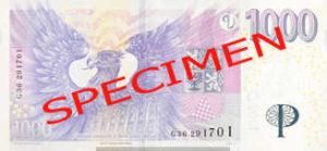 Billet 1000 Couronnes Rep Tcheque CZK verso