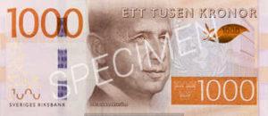 Billet 1000 Couronnes Suede SEK recto