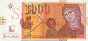 Billet 1000 Denari Macedoine MKD 1996 recto