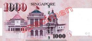 Billet 1000 Dollar Singapour SGD Serie I verso