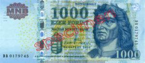 Billet 1000 Forint Hongrie HUF 2009 recto