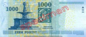 Billet 1000 Forint Hongrie HUF 2009 verso