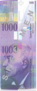 Billet 1000 Francs CHF Suisse