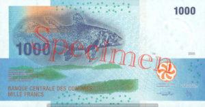 Billet 1000 Francs Comores KMF recto