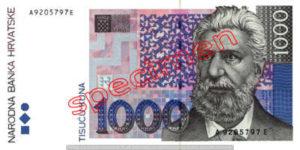 Billet 1000 Kuna Croatie HRK recto