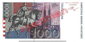 Billet 1000 Kuna Croatie HRK verso