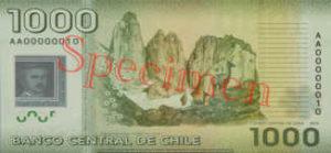 Billet 1000 Peso Chili CLP verso