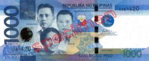 Billet 1000 Peso Philippines PHP recto