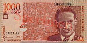 Billet 1000 Pesos Colombie COP 2006 recto