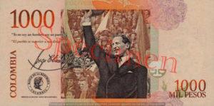 Billet 1000 Pesos Colombie COP 2006 verso